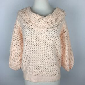 Knitted and Knotted Peach Cowl Neck Sweater